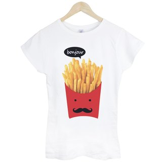 French Fries-bonjour girls short-sleeved T-shirt - white French fries Hello Toast bread food hamburger fast food design own brand Wen Qing
