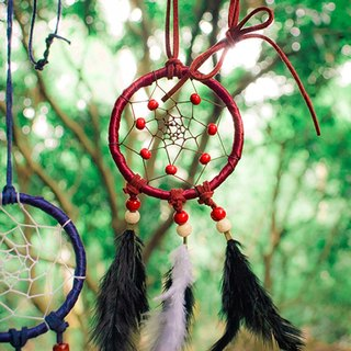 ESCA • DreamCatcher handmade Dreamcatcher - Necklace (burgundy)