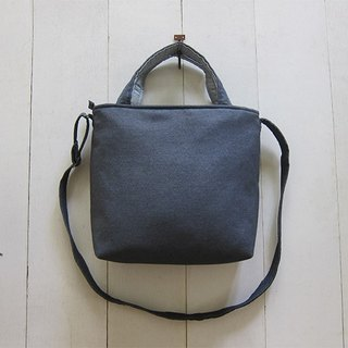 For She / he A4 Canvas Tote - Medium size (Zipper Closure W / Adjusted Strap) Gray + Light Gray