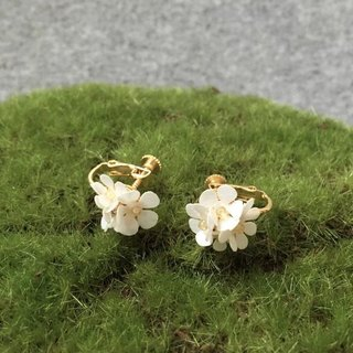 Clip Earrings: Paper No.2 carved flower earrings
