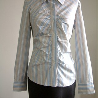 Striped long-sleeved shirt - blue and coffee bar