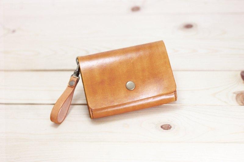 真皮皮革手工收納小方包/短夾/零錢包