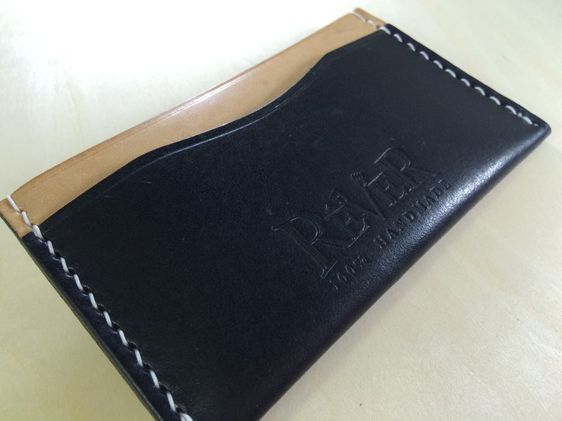 Rever Leather Italian leather hand-stitched black colors Card Holder holistic package to create 3 card slots can be custom engraved name