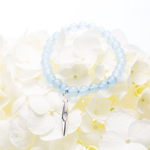 Aquamarine Bracelet, Blue Stone Birthstone Bead Bracelet, 925 March Birthstone