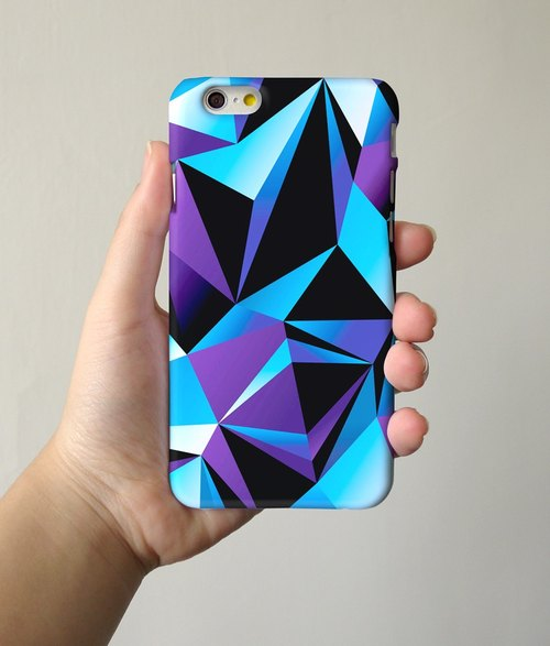 Blue Geometric Pattern 3D Full Wrap Phone Case, available for  iPhone 7, iPhone 7 Plus, iPhone 6s, iPhone 6s Plus, iPhone 5/5s, iPhone 5c, iPhone 4/4s, Samsung Galaxy S7, S7 Edge, S6 Edge Plus, S6, S6 Edge, S5 S4 S3  Samsung Galaxy Note 5, Note 4, Note 3,