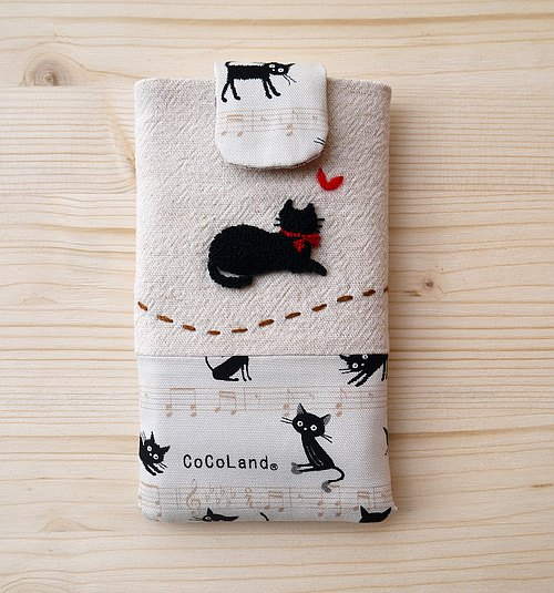 Pensive cat embroidered cell phone pocket (S)