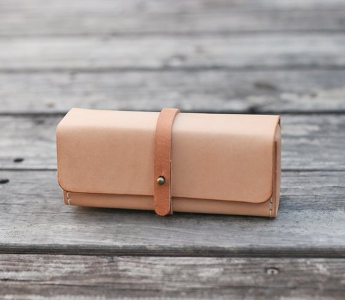 Nude color vegetable cow hide leather Pencil Case