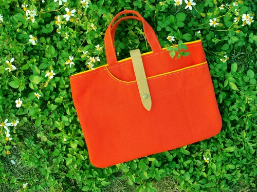 1pinfun ♡ Arc canvas handbag orange *