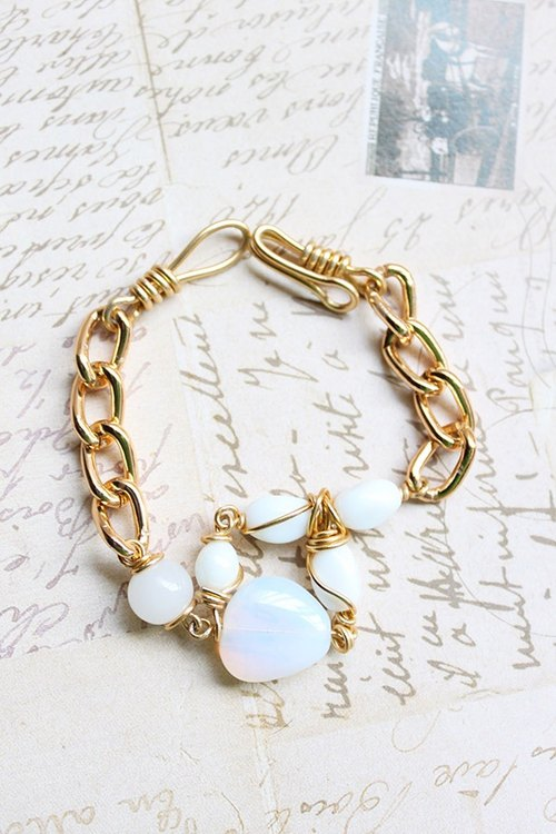Moonstone and White Stone Golden Bracelet