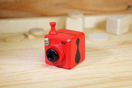 Polaroid camera series painted wooden key ring