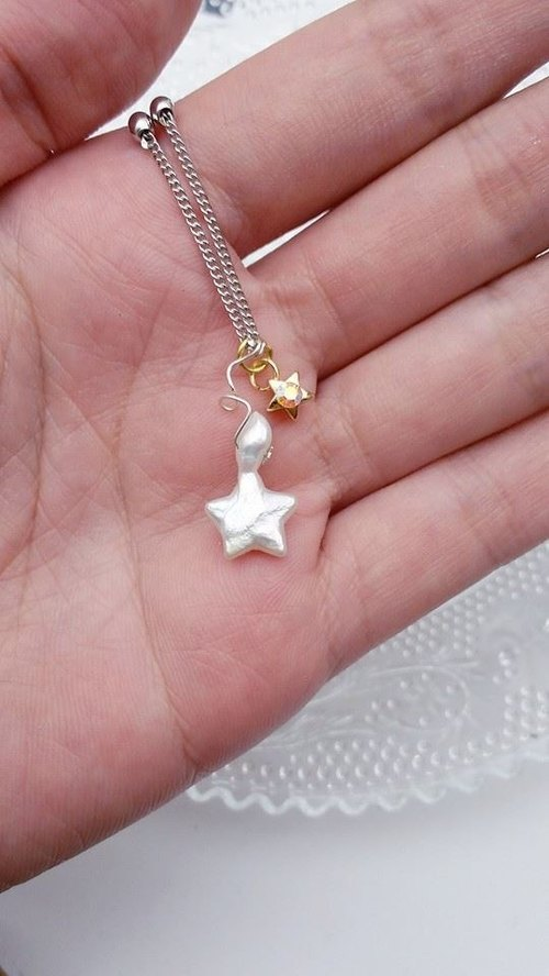 [Lost and find meteor star] natural freshwater pearl neck