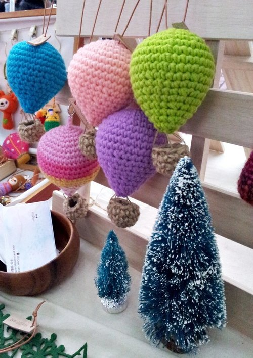 Hot air balloons take off ~ ~ handmade crocheted