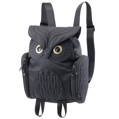 Morn Creations genuine classic owl after Backpack - Black (S) (OW-333)