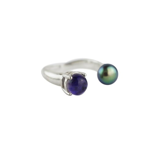 Black Pearl Blue Tourmaline Ring TOURMALINE GEM