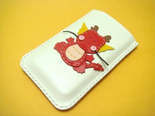 {Leatherprince 手工皮革} 台灣MIT 白色 小龍 iPhone 純手工牛皮保護套 / Puff the Magic Dragon iPhone Leather Case ( White / Red )