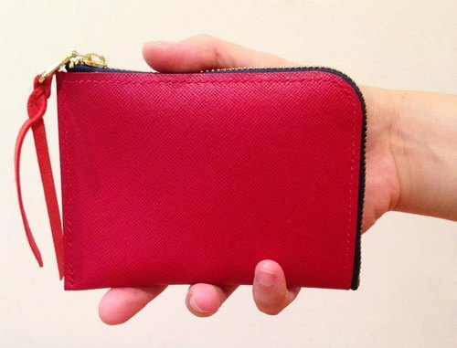 ROUGE small leather wallet // France was red Leather Pouch & Coin Purse RED