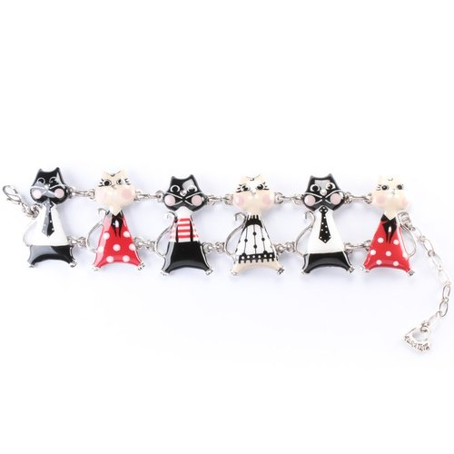 Taratata smart cat series] Paris cold enamel color cute little kitty Roman Holiday pop style bracelet European style handmade jewelry