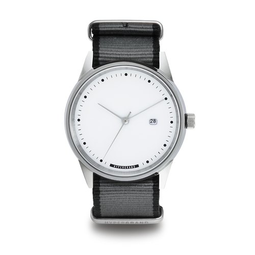 HYPERGRAND - Silver White Straight Jacquard Grey Cold Steel Series - silver dial watch gray twill