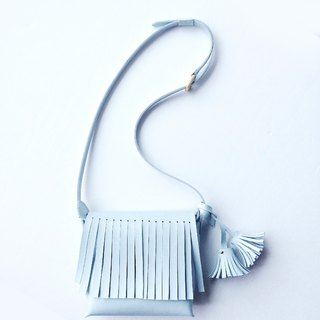 Zemoneni leather casual Shoulder bag with tassels in Light blue color