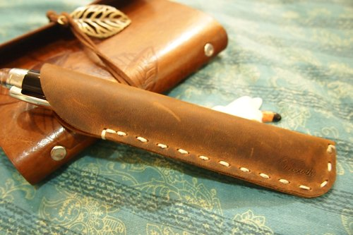 Wosloth High quality handmade leather pen pencil retro leather travel Stationery