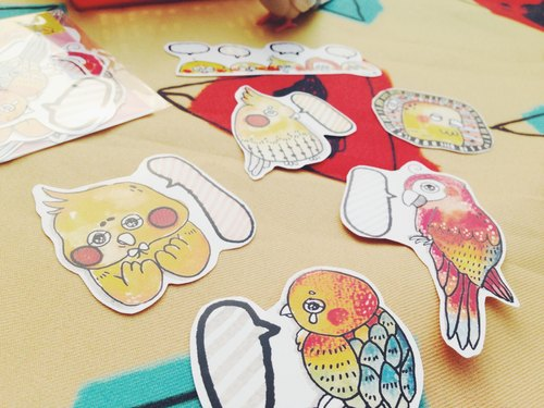 Cute parrots sticker packet