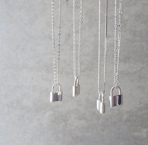 Heart lock silver necklace lock head shape Heart Locks (four kinds of chain models with optional)