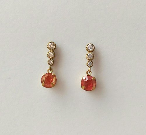 Zircon Antique peach color glass earrings
