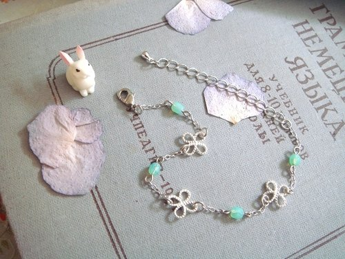 Garohands fog silver four-leaf twill Clover touch bracelet * mint green B145 gift temperament fresh Christmas gifts