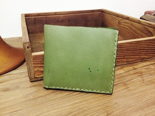 [Endorphin] handmade cow leather short clip (green)