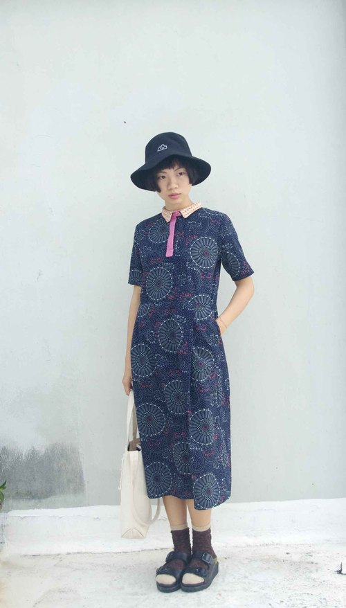4.5studio- independent hand-made by FU- splendid fireworks shirt printing Japanese-style dress