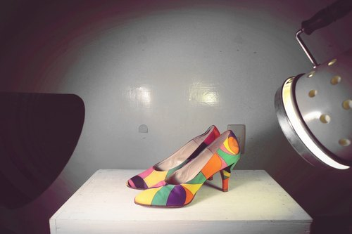 ~ After the garden - vintage multi-color geometric heels (size female models wear No. 36-37)