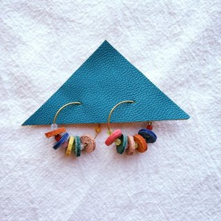 Color leather earrings _ small size potato
