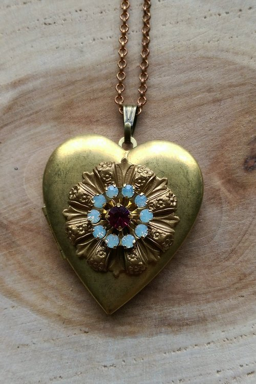 Large antique heart-shaped necklace