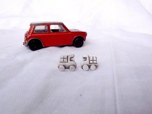 Small Truck--Little Car--Sterling Silver--Silver Tiny Car--Stud Earrings