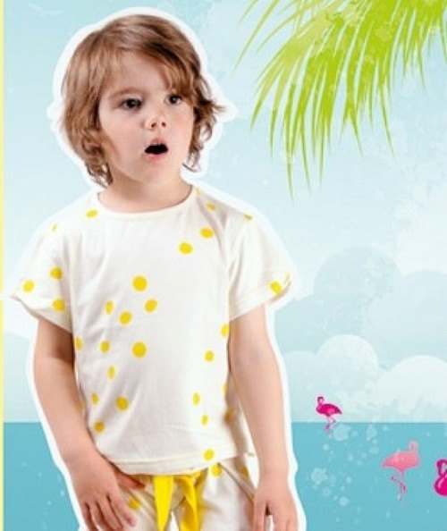 2014 Spring ~~ koolabah fluorescent yellow little organic cotton T-shirt