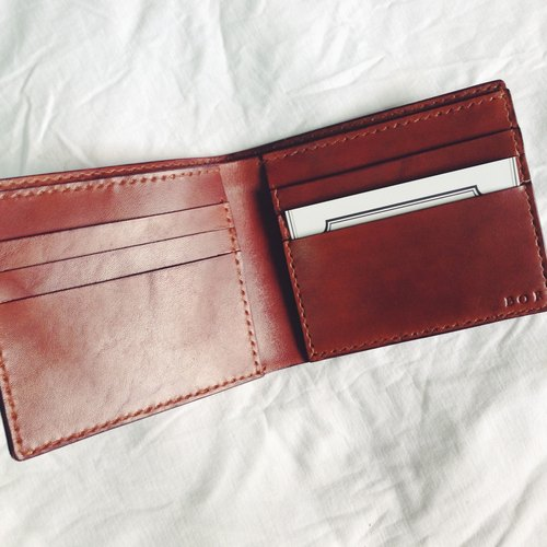 [NINOX] Handmade Leather Wallet Short Clip Silver Bags Send Print