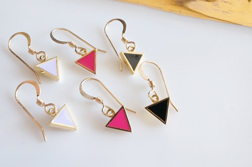 [14KGF] Earrings, 16KGP Tiny Triangle
