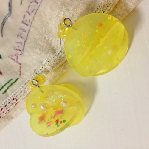 Yen | transparent resin hand-colored hard candy ear clip earrings exclusive design Lemon Candy