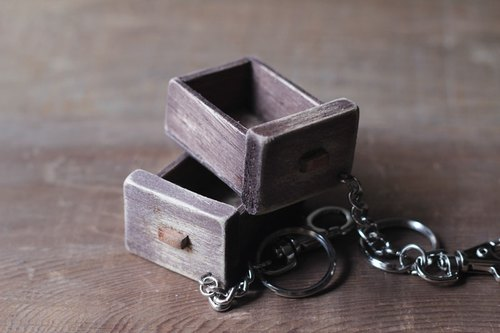 Old wooden drawer key ring