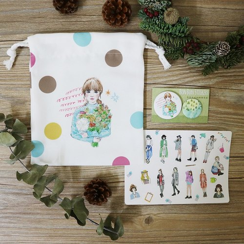Exchanging gifts (all white section) let me accompany you to New Year's Eve Warm Heart Group (forest girl Pouch + sticker + badge) Limited combination