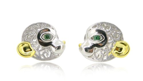 HK112 ~ 925 sterling silver monkey modeling earrings