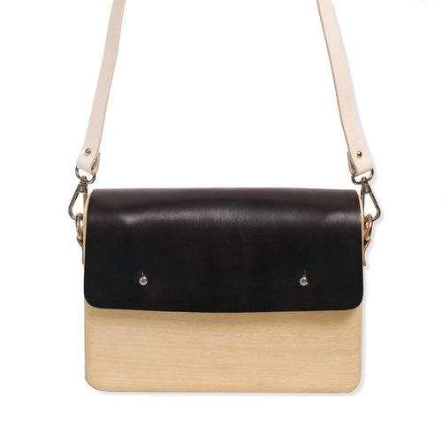 Wooden Shoulder Bag (Large) ( Black)