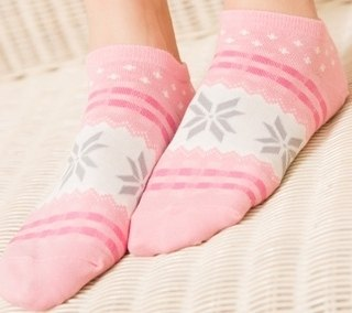 Women cotton socks-Snowflakes-Pink