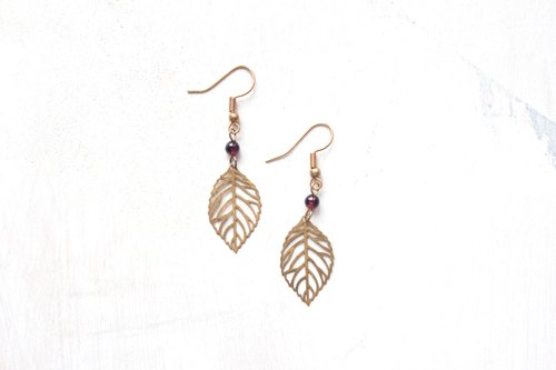 Emerald a |. Natural stone red pomegranate leaves hanging earrings (precious stone)