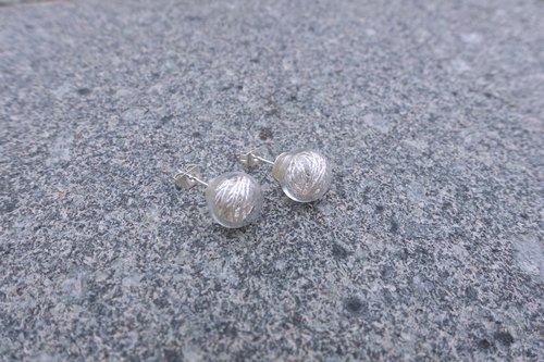 Simple transparent glass beads, silver plated earrings (Silver Line)