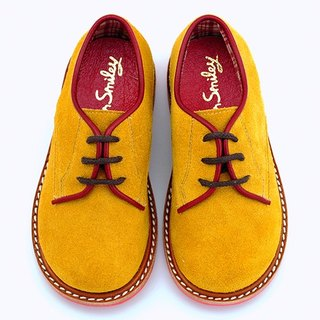 Beven Smiley. MIT children full leather Derby shoes (paragraph gentleman - yellow) handmade shoes