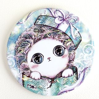 Good hand-painted ceramic absorbent coaster - gift cat