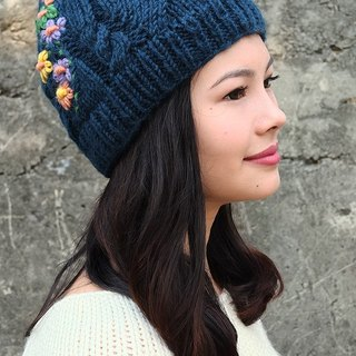 Handmade Hand Knit Wool Beanie Hat Flower Embroidery