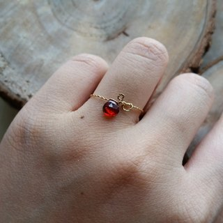 Please provide ring size when order - Gold-plated / silverplated ring with garnet new gold-plated super-quality, heart-shaped cut garnet ring