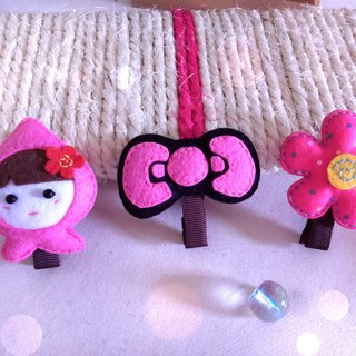 Non-woven ~ hairpin three groups ~ Q baby .KT bow. Flower clip